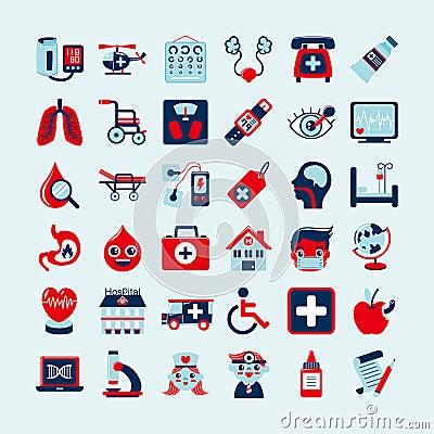 Iconos médicos fijados,