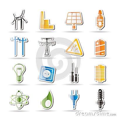 Iconos simples de la electricidad, de la potencia y de la energía