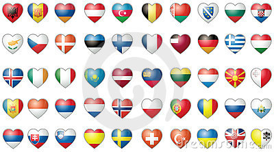 Icons with all the flags of the world vector set