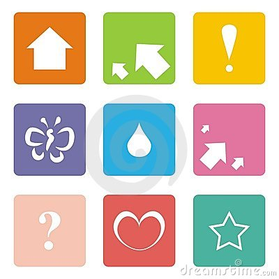 Icons: arrow, up, love, star, butterfly