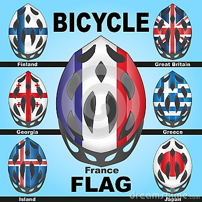 Icons bicycle helmets and flags countries
