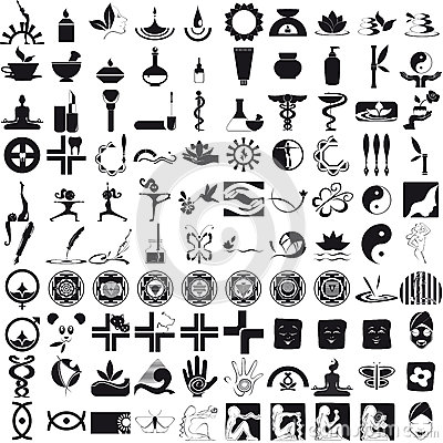Icons black on white background