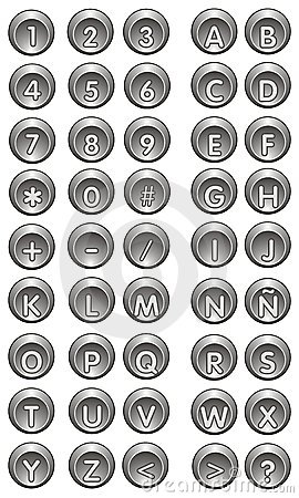 Icons Buttons numbers and letters