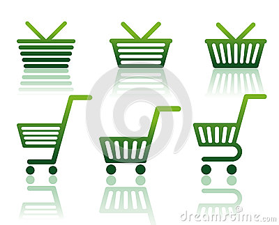 Icons of carts and baskets