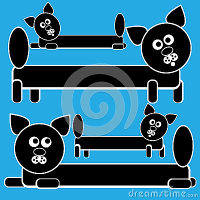 Icons cats isolated on a blue