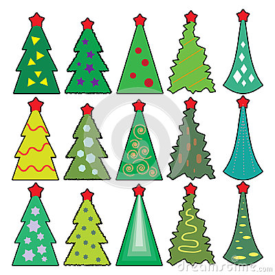 Icons of Christmas toys, dressed Christmas tree