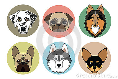 Icons of different breeds of dogs