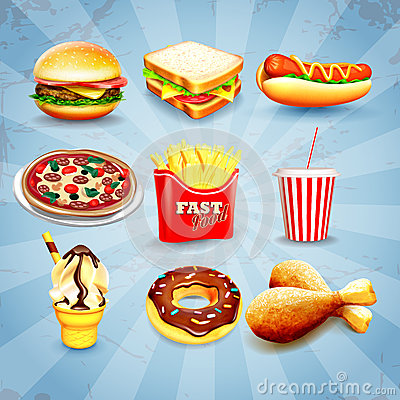 Free Icons Fast Food Royalty Free Stock Photo - 48804715