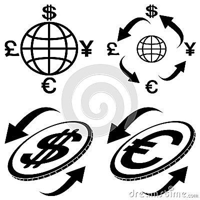Icons of financial symbols