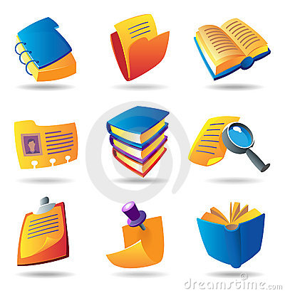 Free Icons For Books And Papers Stock Photography - 11688292