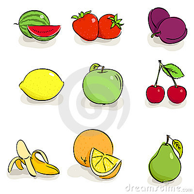 Icons of fruits and berries
