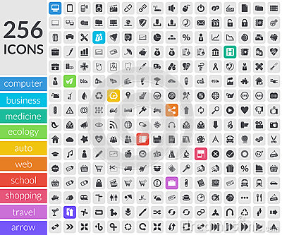 Icons inside rounded squares