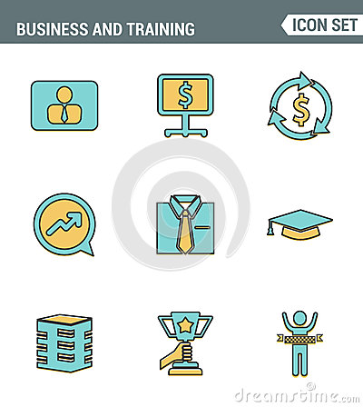 Icons line set premium quality of corporate management and business leader training. Modern pictogram collection flat design style Stock Photo