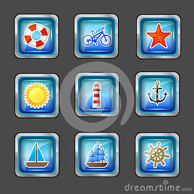 Icons with marine elements