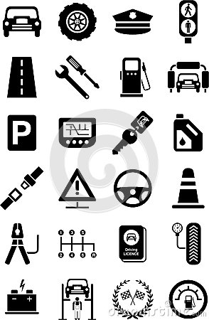 Icons of motor vehicles, traffic & mechanical