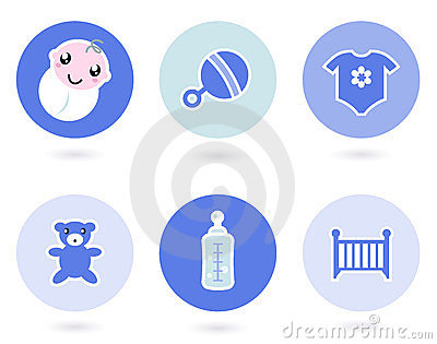 Icons and objects for baby boy