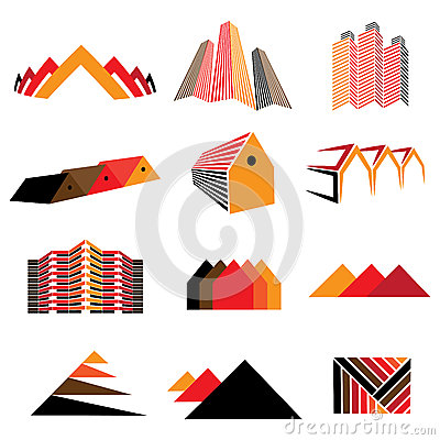Icons of office buildings, residential houses & homes. Also symb