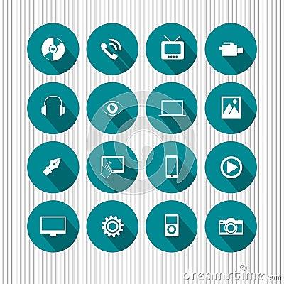 Free Icons On Aqua Royalty Free Stock Images - 37790439