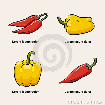 Icons of pepper. Vector Illustration