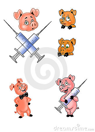 Icons of pig and hypodermics