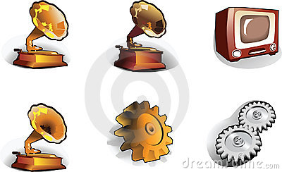 Icons: pinion, gramophone, TV