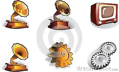 Icons: pinion, gramophone, TV