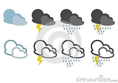 Icons with rainy weather