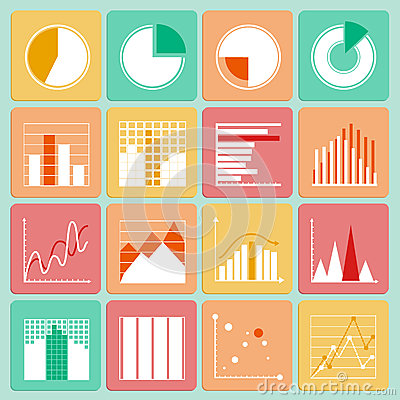 Icons set of business presentation charts and