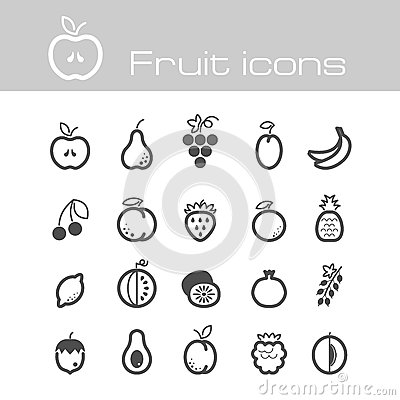Free Icons Set Fruits Stock Photography - 39167782