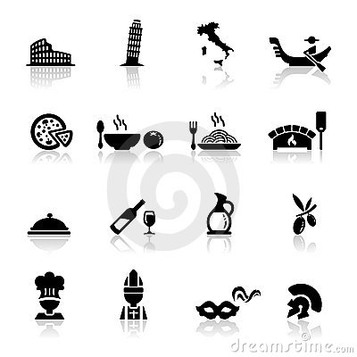 Icons set Italian Cuisine and culture