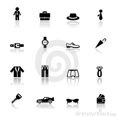 Icons set man accessories