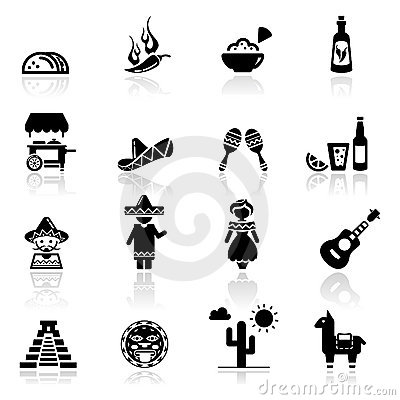 Free Icons Set Mexican Culture And Cuisine Royalty Free Stock Photos - 19992608
