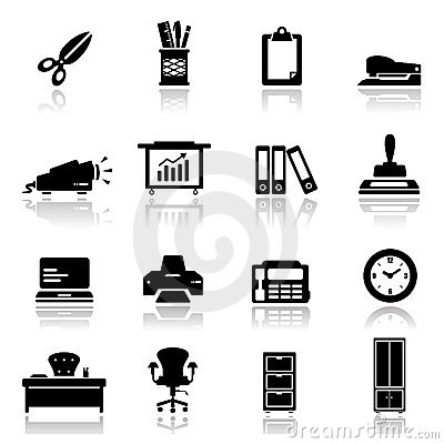 Icons set office equipment
