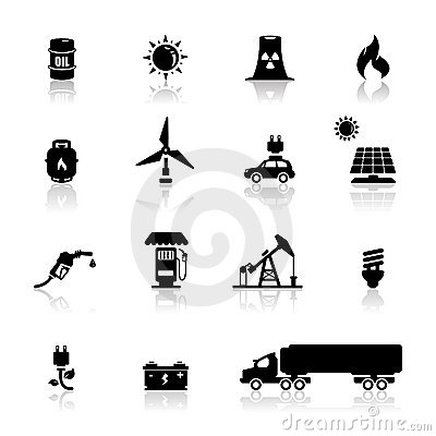 Icons set power and energy