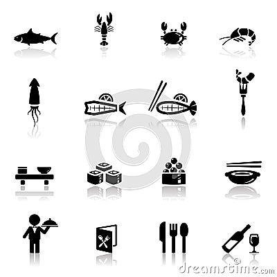 Icons set sea food
