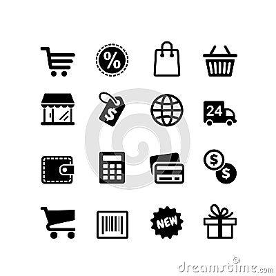 16 icons set. Shopping pictograms