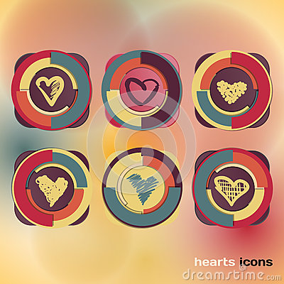Icons set of sketch colored hearts
