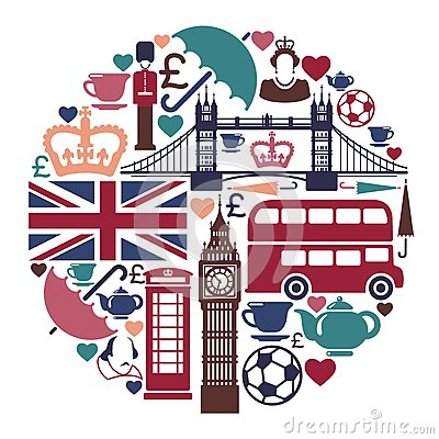 Icons on a theme of England Editorial Image