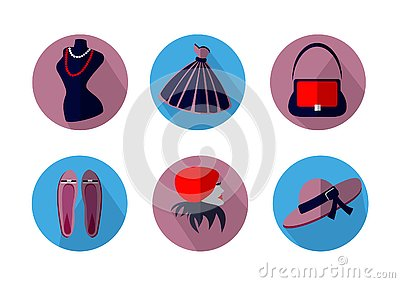 Icons on the theme of fashion on a white background Vector Illustration