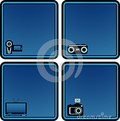 Icons with voice recorder, tv, photo and video cam
