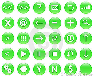 Icons For Web Actions Set Green