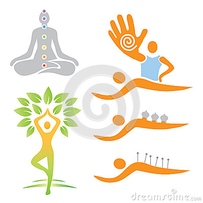 Icons yoga massage alternative medicine