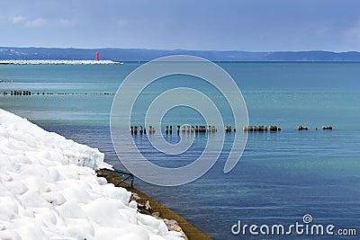 Icy Baltic sea coast at winter.