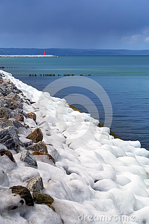 Icy Baltic sea coast at winter