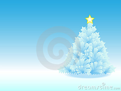 Icy Christmas Tree in blue gradient background