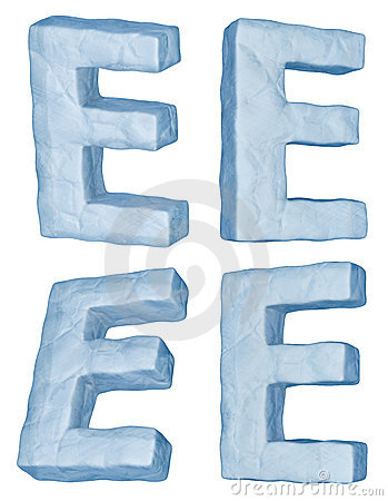 Icy letter E.