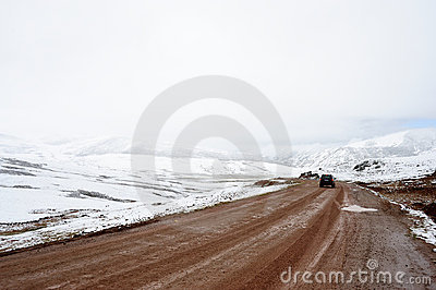 Icy mountain road Editorial Image
