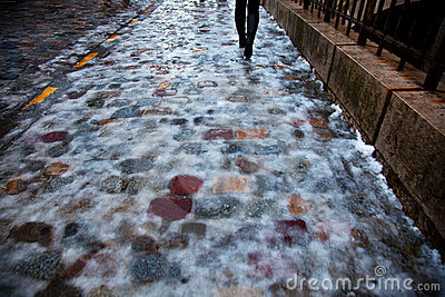 Icy pavement