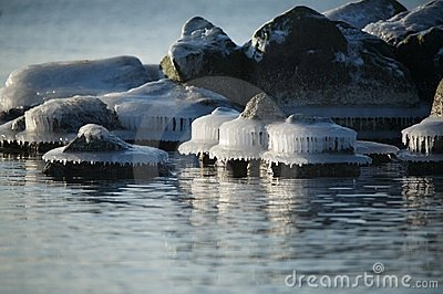 Icy rocks along coastline