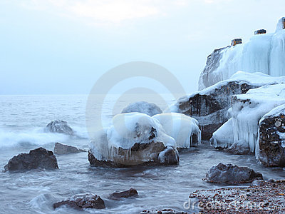 Icy rocks on the shore